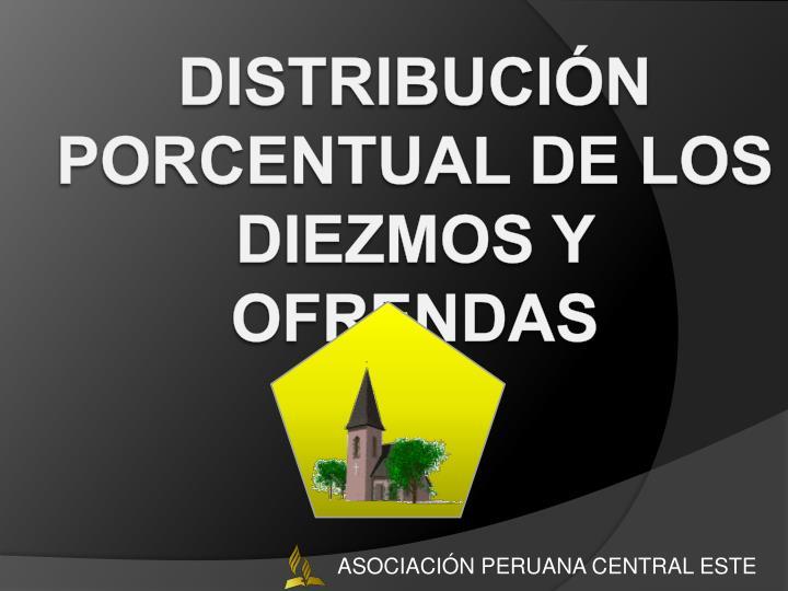 Distribución Porcentual de los Diezmos y Ofrendas