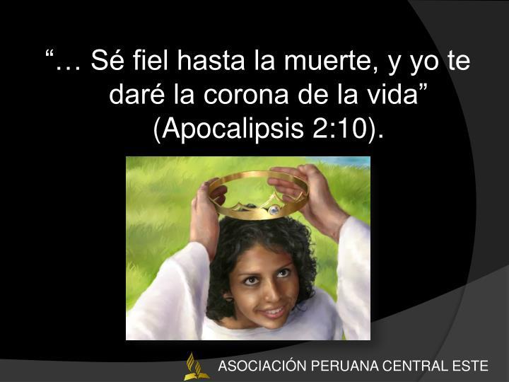 """""""… Sé fiel hasta la muerte, y yo te daré la corona de la vida"""" (Apocalipsis 2:10)."""