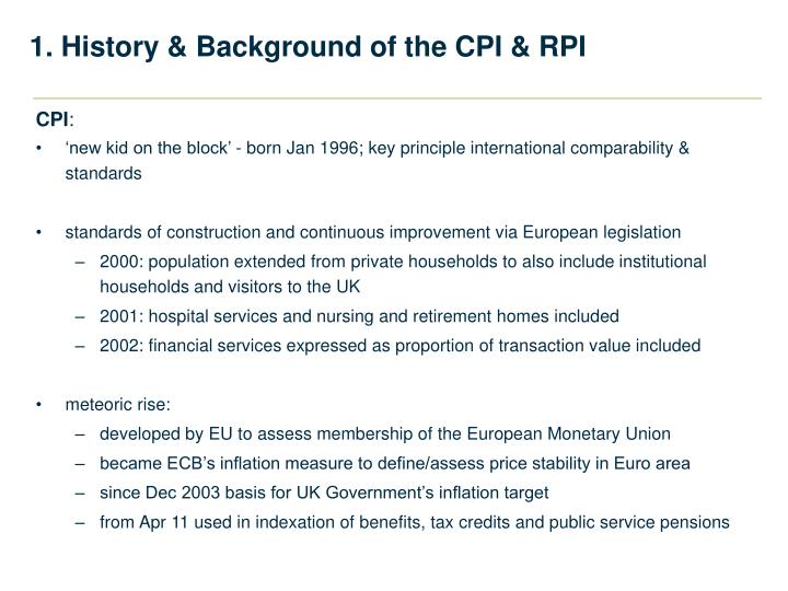 1. History & Background of the CPI & RPI