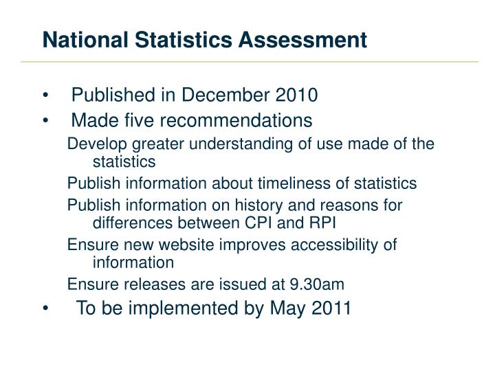 National Statistics Assessment