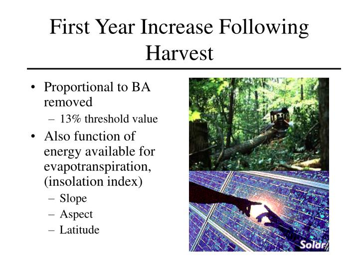 First Year Increase Following Harvest