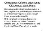 compliance officers attention to oig annual work plans