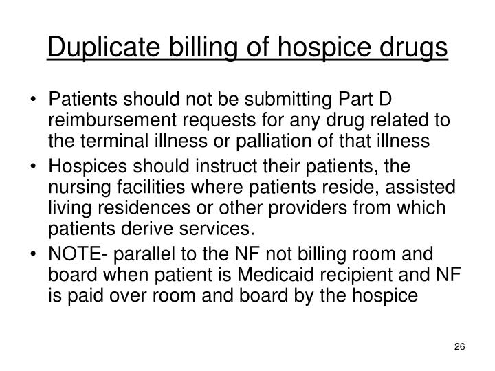 Duplicate billing of hospice drugs