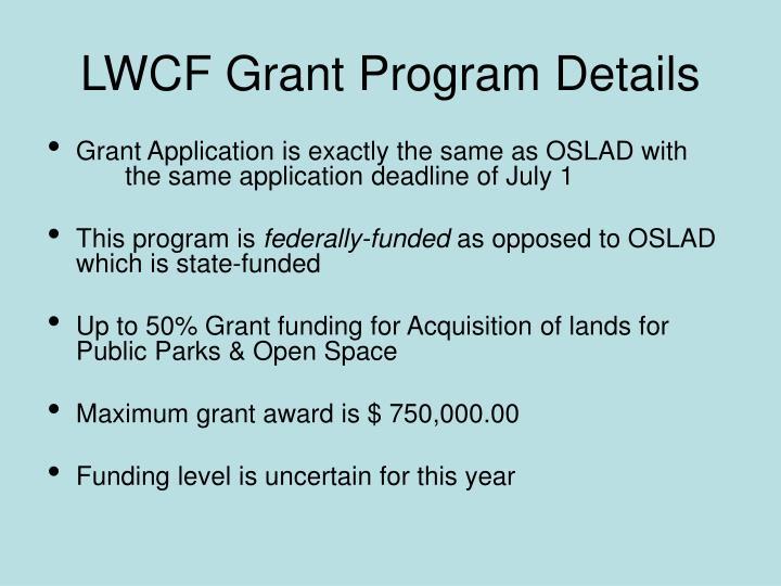 LWCF Grant Program Details