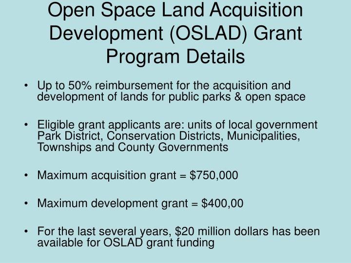 Open Space Land Acquisition Development (OSLAD) Grant Program Details