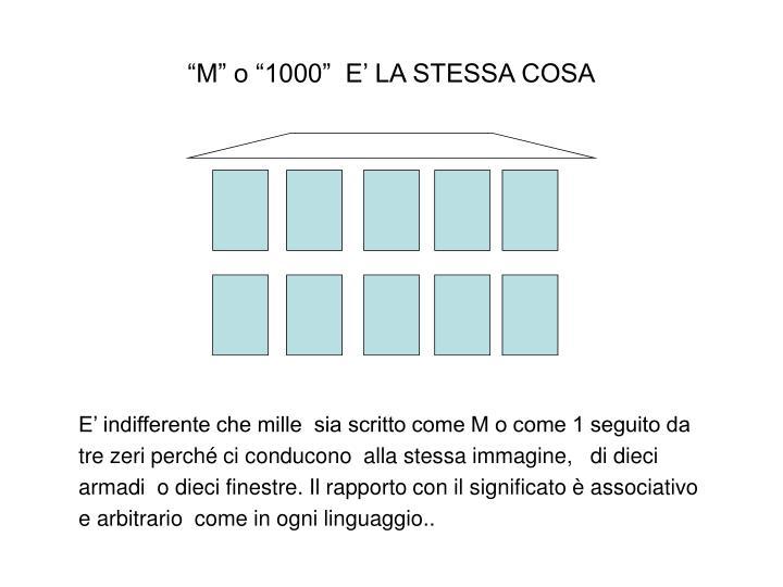 """""""M"""" o """"1000""""  E' LA STESSA COSA"""