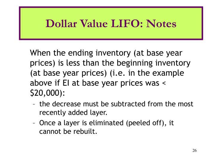 Dollar Value LIFO: Notes
