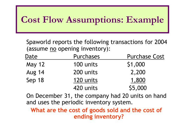 Cost Flow Assumptions: Example