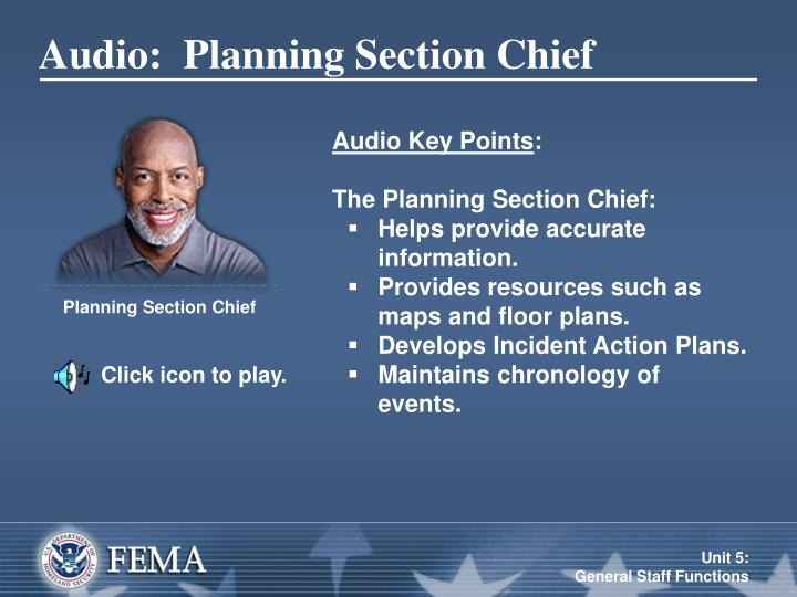 Audio:  Planning Section Chief