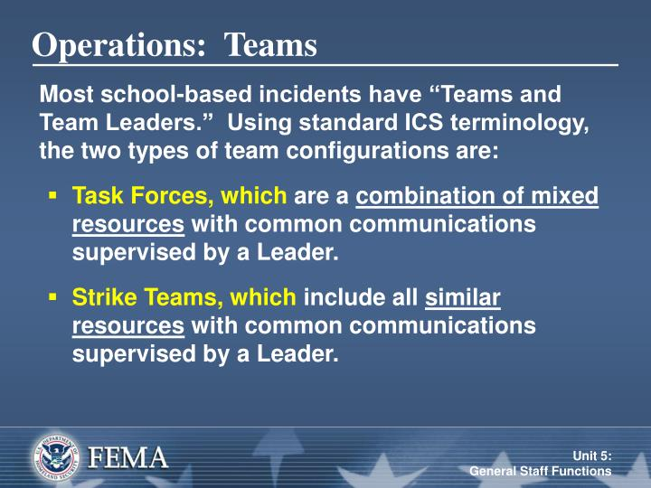 Operations:  Teams