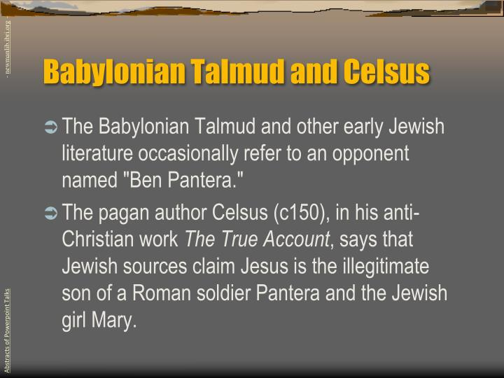 Babylonian Talmud and Celsus