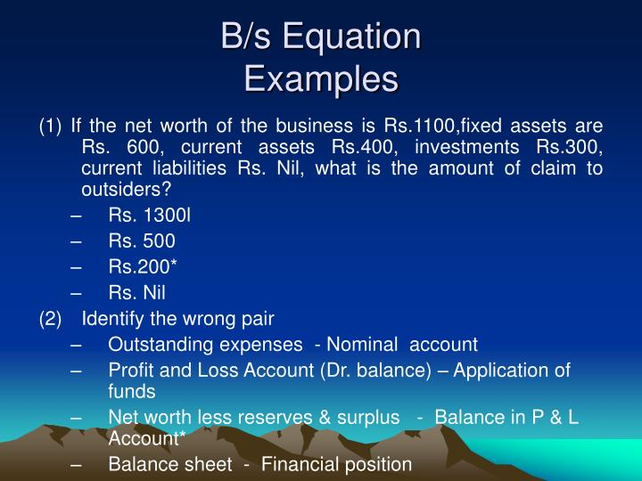 B/s Equation