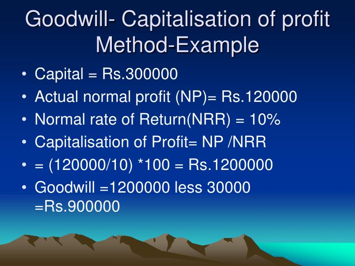 Goodwill- Capitalisation of profit Method-Example