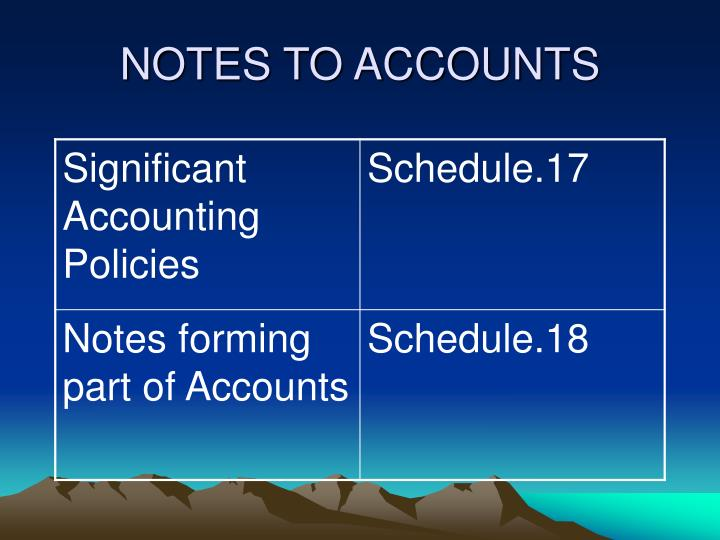 NOTES TO ACCOUNTS