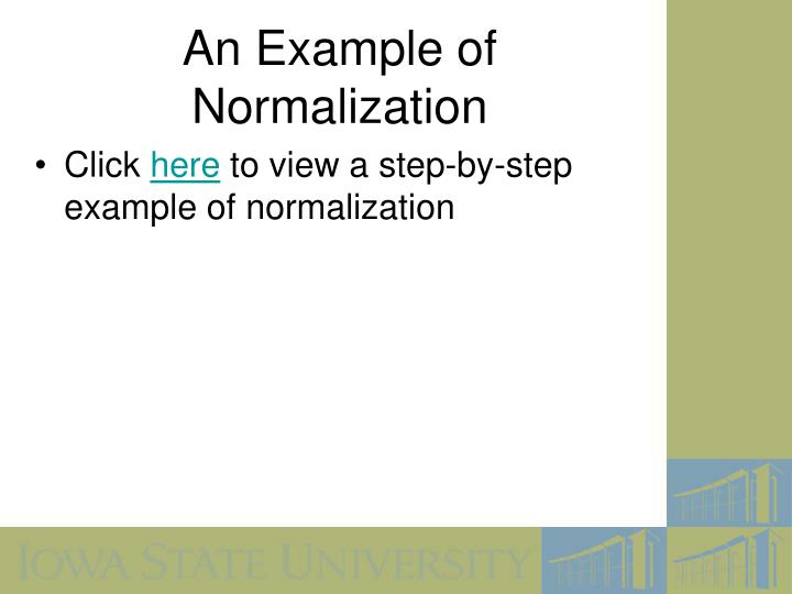 An Example of Normalization