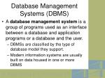 database management systems dbms