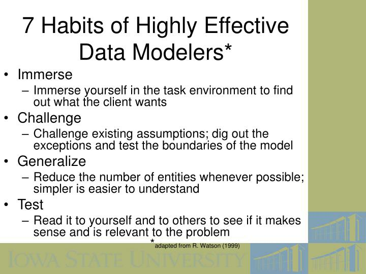 7 Habits of Highly Effective Data Modelers*