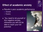 effect of academic anxiety
