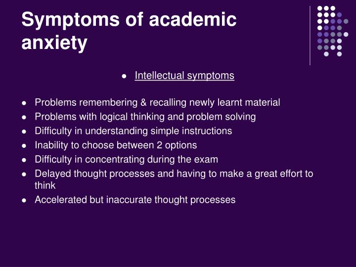 Symptoms of academic anxiety