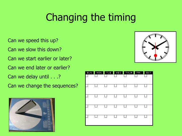 Changing the timing