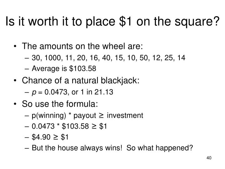 Is it worth it to place $1 on the square?
