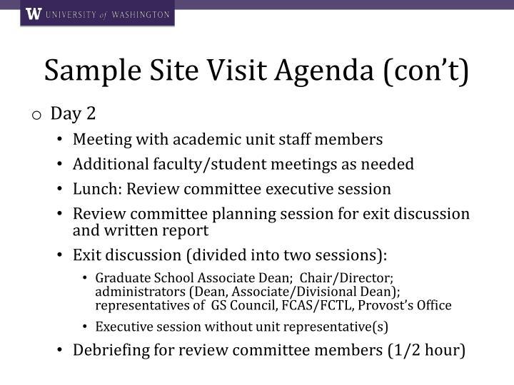 Sample Site Visit Agenda (con't)