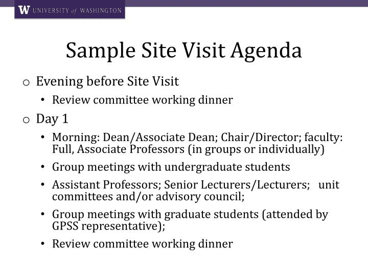 Sample Site Visit Agenda