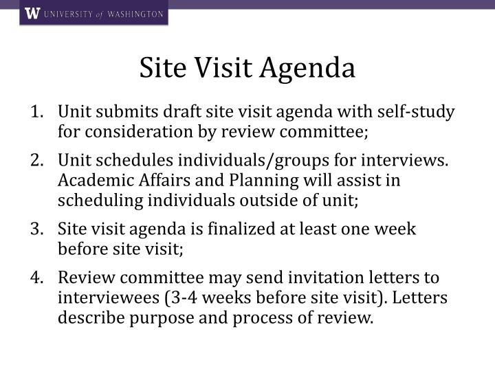 Site Visit Agenda