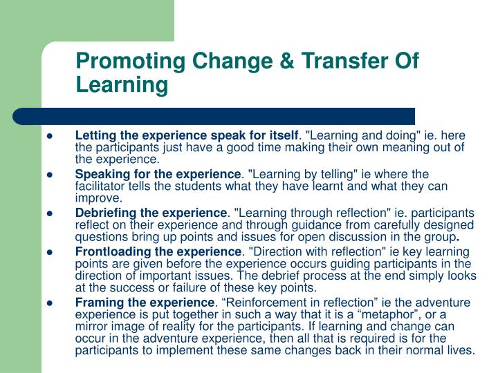 Promoting Change & Transfer Of Learning