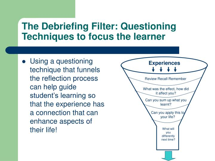 The Debriefing Filter: Questioning Techniques to focus the learner