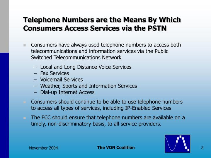 Telephone Numbers are the Means By Which