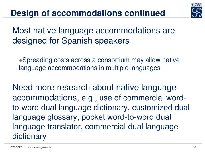 Design of accommodations continued
