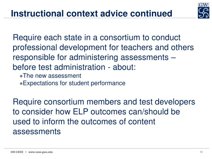 Instructional context advice continued