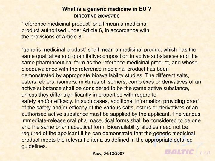 What is a generic medicine in EU ?