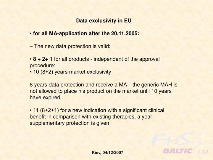 Data exclusivity in EU