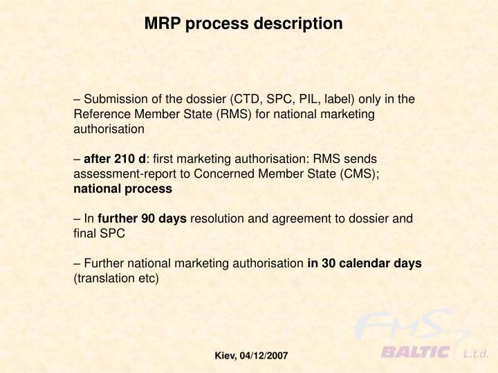 MRP process description
