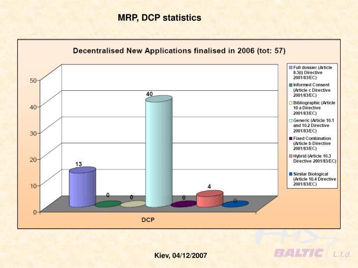 MRP, DCP statistics