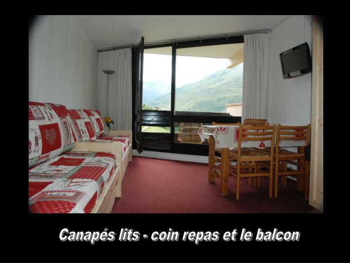 Canapés lits - coin repas et le balcon