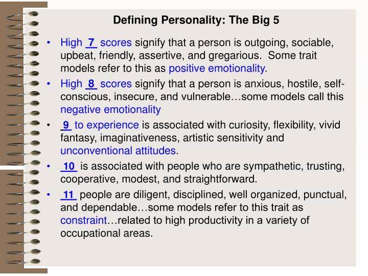 Defining personality the big 5