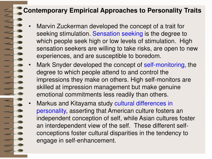 Contemporary Empirical Approaches to Personality Traits