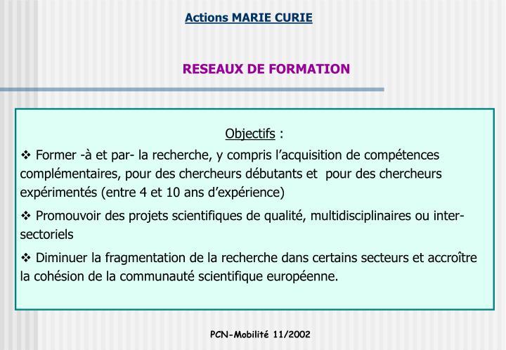 RESEAUX DE FORMATION