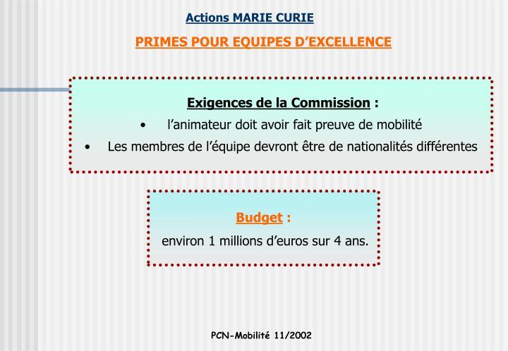 PRIMES POUR EQUIPES D'EXCELLENCE