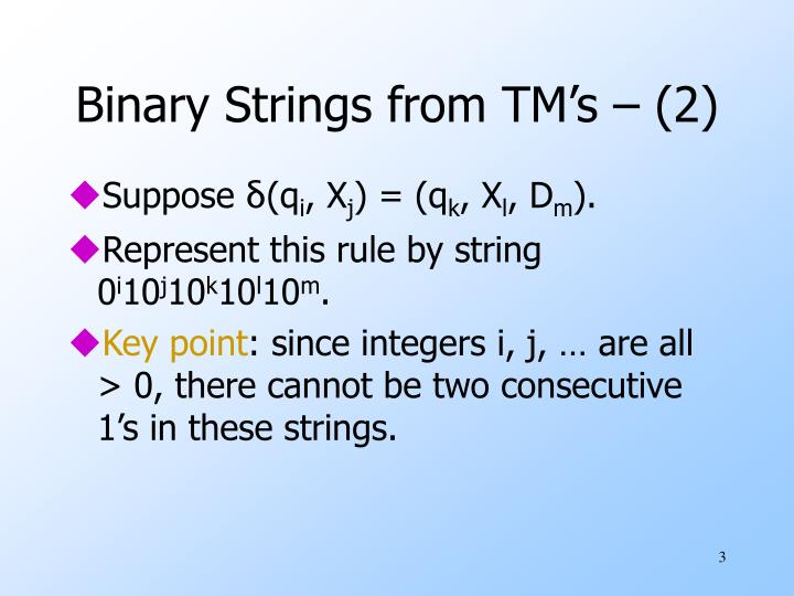 Binary strings from tm s 2