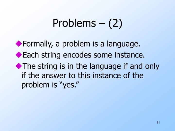 Problems – (2)