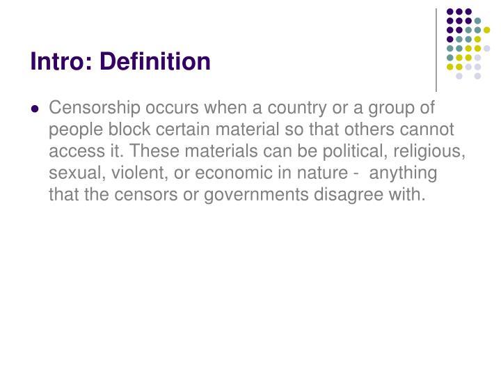 Intro: Definition