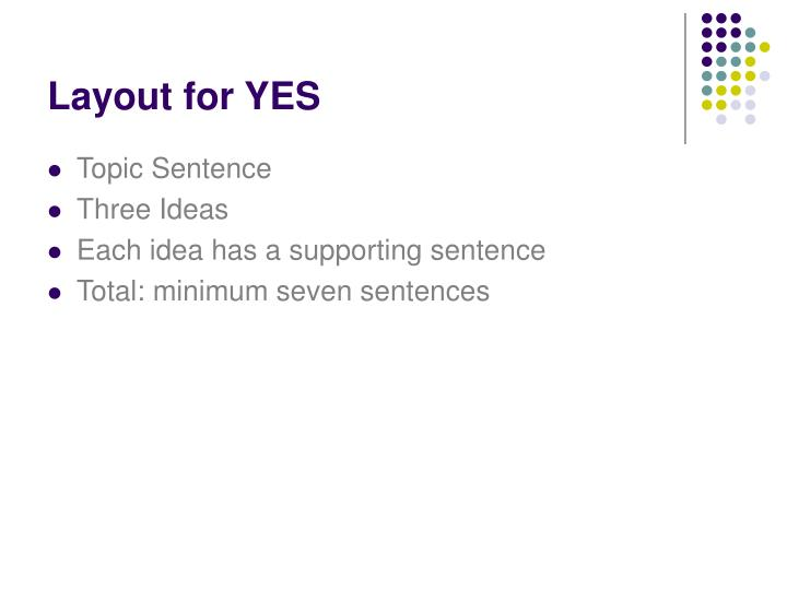 Layout for YES