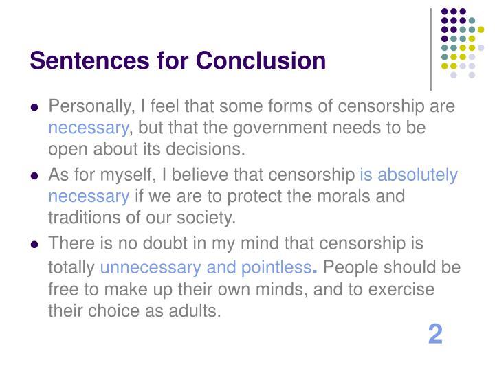 Sentences for Conclusion