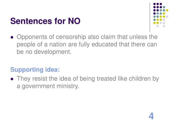 Sentences for NO