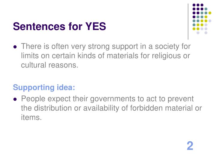 Sentences for YES