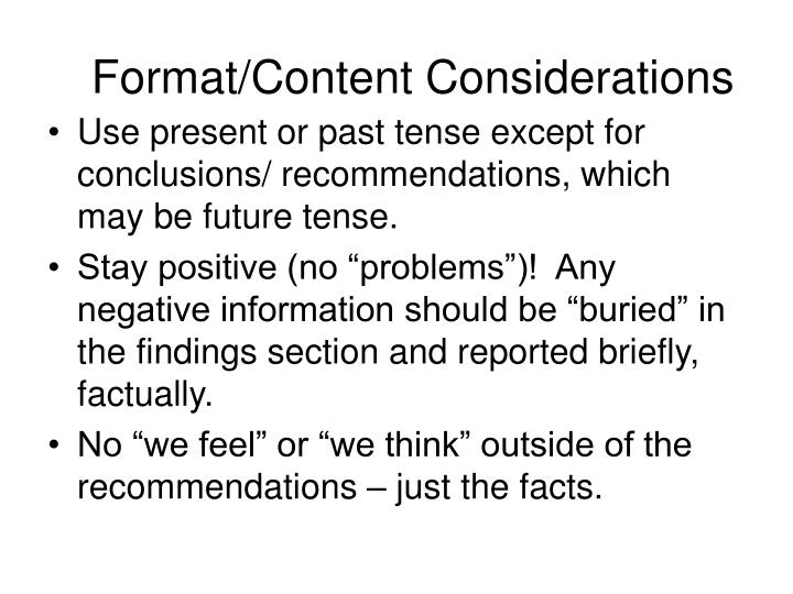 Format/Content Considerations